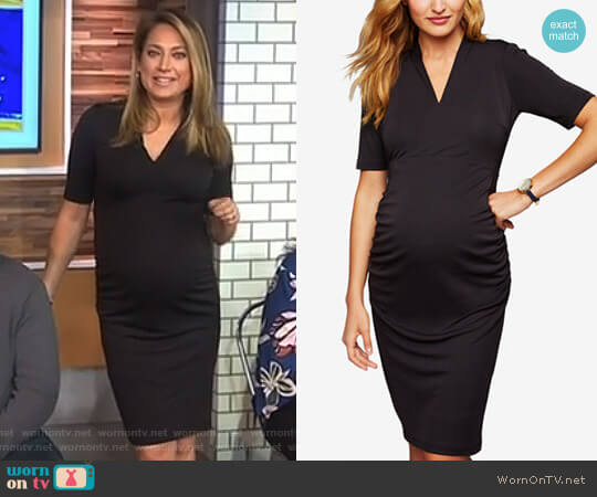 Maternity V-Neck Sheath Dress by A Pea in the Pod worn by Ginger Zee  on Good Morning America
