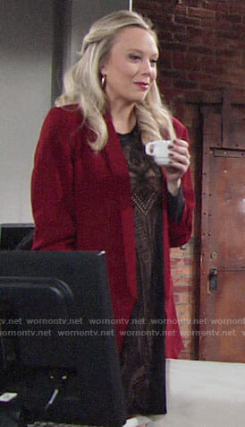 Abby's black lace dress and red blazer on The Young and the Restless