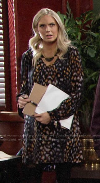 Abby's leopard print dress on The Young and the Restless