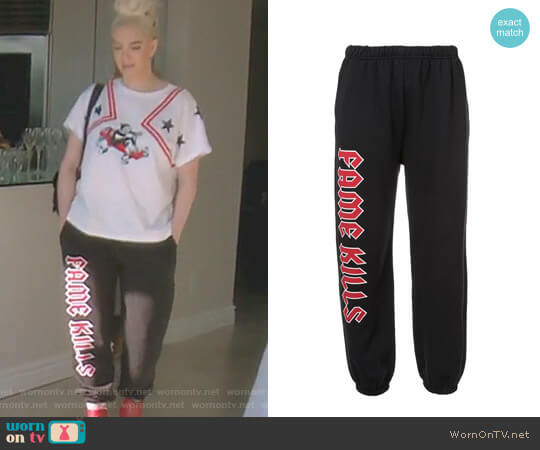 Fame Kills Sweatpants by Adaptation worn by Erika Girardi  on The Real Housewives of Beverly Hills
