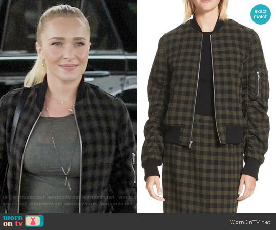 ALC Andrew Checked Bomber Jacket worn by Hayden Panettiere on Nashville