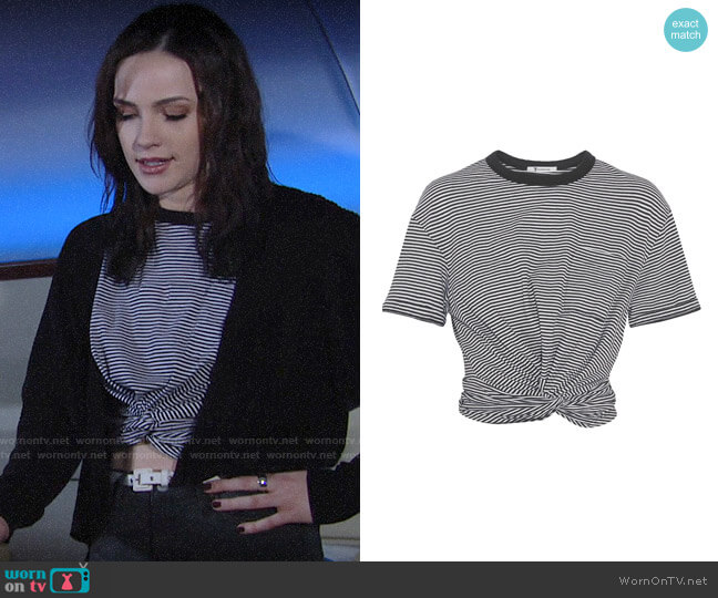T by Alexander Wang Cropped Twist-front T-shirt worn by Tessa Porter (Cait Fairbanks) on The Young & the Restless