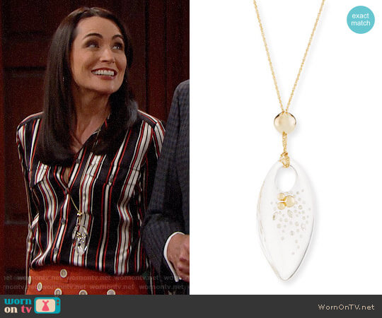 Alexis Bittar Large Lucite Marquis Pendant Necklace worn by Quinn Fuller (Rena Sofer) on The Bold & the Beautiful