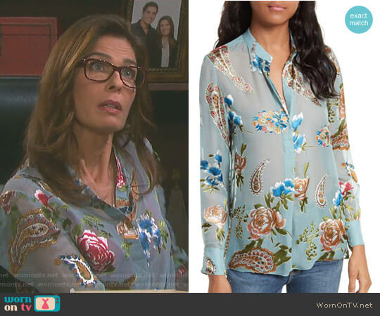 'Amos' Print Side Slit Tunic by Alice + Olivia worn by Kristian Alfonso on Days of our Lives