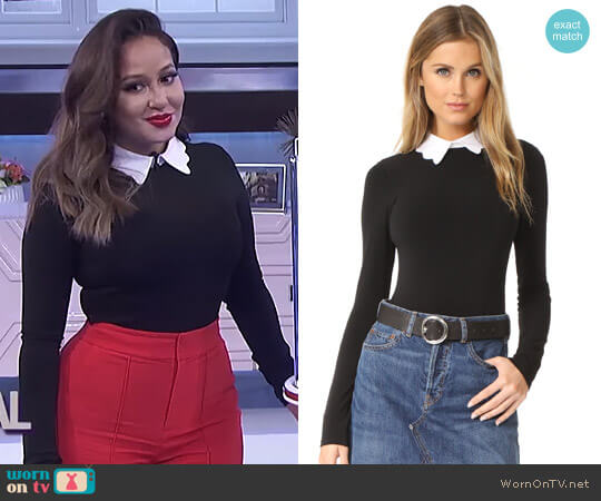 'Becker' Optional Collar Bodysuit by Alice + Olivia worn by Adrienne Houghton on The Real