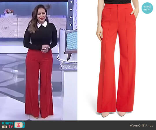 'Dylan' High-Waist Wide Leg Pants by Alice + Olivia worn by Adrienne Houghton on The Real
