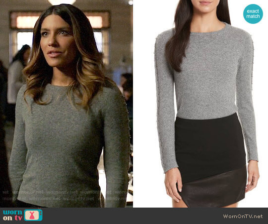 Alice + Olivia Sparrow Sweater worn by Dinah Drake (Juliana Harkavy) on Arrow