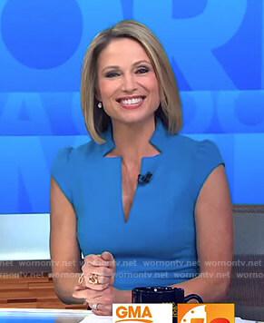 Amy's blue v-neck dress on Good Morning America
