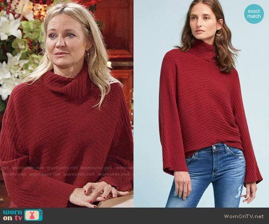 Anthropologie Moth Tisbury Turtleneck Pullover worn by Sharon Collins (Sharon Case) on The Young & the Restless