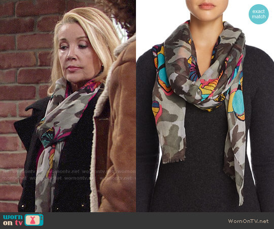 Aqua Camo Butterfly Scarf worn by Nikki Reed Newman (Melody Thomas-Scott) on The Young & the Restless