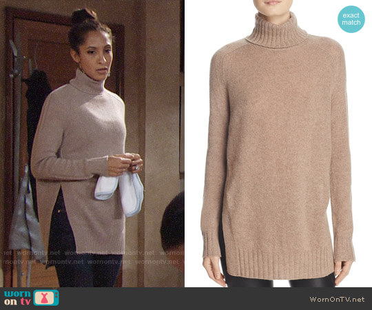 Aqua Cashmere Side-Slit Turtleneck Sweater worn by Christel Khalil on The Young & the Restless
