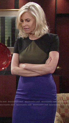 Ashley's olive, black, and blue dress on The Young and the Restless
