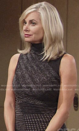 Ashley's checked print turtleneck dress on The Young and the Restless