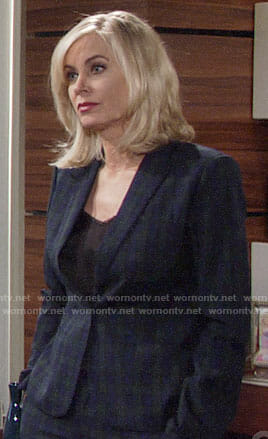 Ashley's navy plaid suit on The Young and the Restless