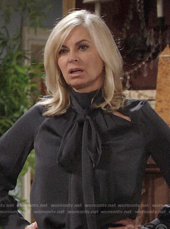 Ashley's grey bow neck blouse on The Young and the Restless