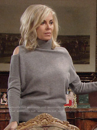 Ashley's grey cold-shoulder sweater on The Young and the Restless
