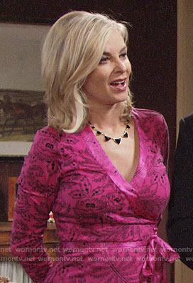 Ashley's pink wrap dress on The Young and the Restless