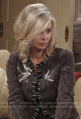 Ashley's tweed jacket with birds on The Young and the Restless