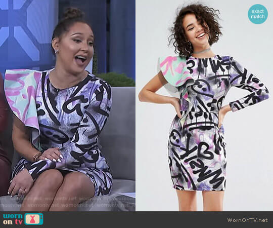Print Ruffle Mini Dress by Asos x MTV worn by Adrienne Houghton (Adrienne Houghton) on The Real