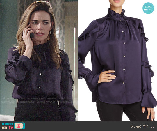 Bailey 44 Ancestral Curse Silk Blouse worn by Amelia Heinle on The Young & the Restless