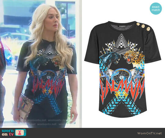 Printed Top with Embossed Buttons by Balmain worn by Erika Girardi on The Real Housewives of Beverly Hills