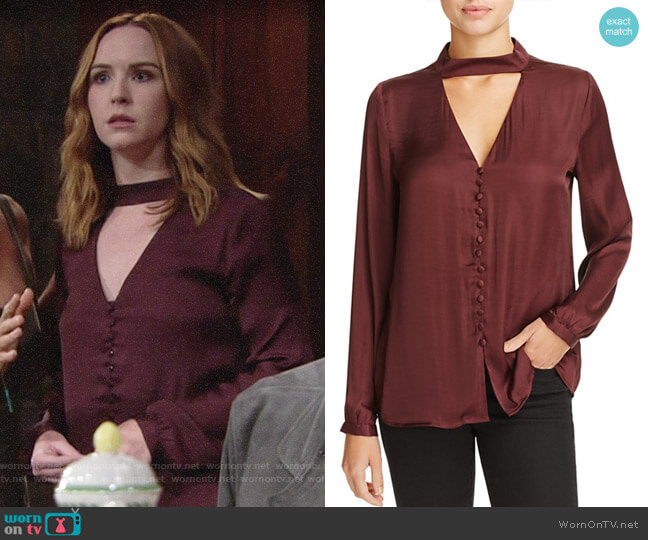 Bardot Cutout Satin Blouse worn by Mariah Copeland (Camryn Grimes) on The Young & the Restless