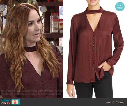 Bardot Cutout Satin Blouse worn by Camryn Grimes on The Young & the Restless