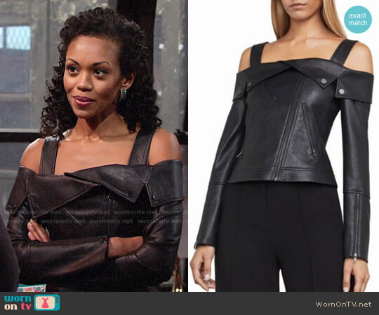 Bcbgmaxazria Clyde Jacket worn by Hilary Curtis (Mishael Morgan) on The Young & the Restless