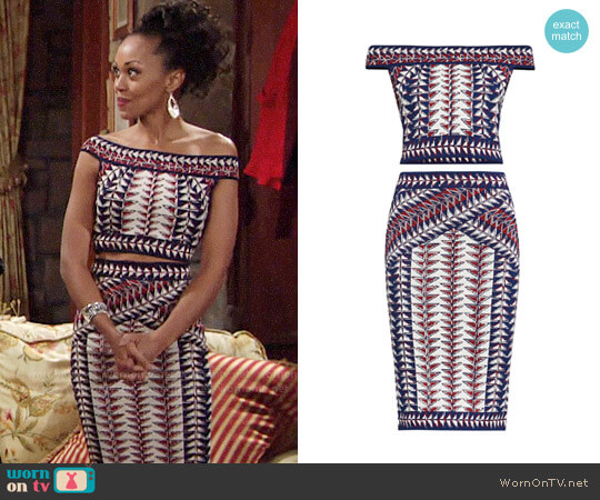 Bcbgmaxazria Kayann Top and Leger Skirt worn by Mishael Morgan on The Young & the Restless