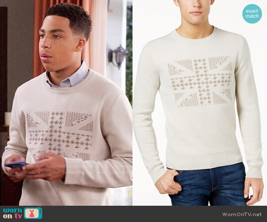 Ben Sherman Union Jack Jacquard Sweater worn by Andre Johnson Jr (Marcus Scribner) on Blackish