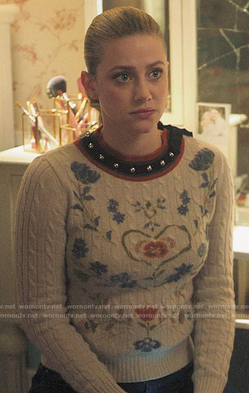 Betty's floral sweater with studded neckline on Riverdale