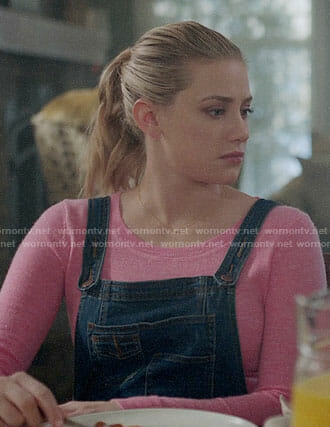 Betty's pink sweater and denim overalls on Riverdale