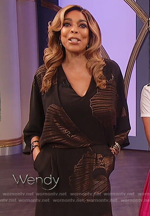 Wendy's black and gold print faux wrap dress on The Wendy Williams Show