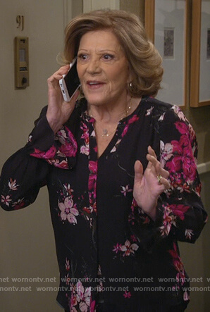 Judy's black floral print blouse on 9JKL