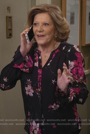 Judy's black floral print blouse on 9JKL