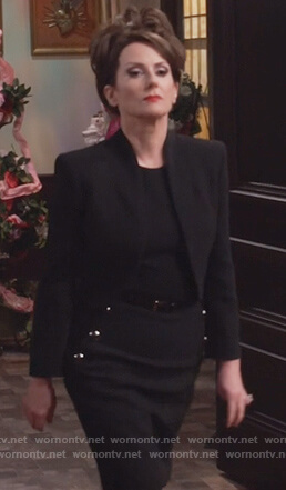 Karen's black button embellished dress on Will and Grace