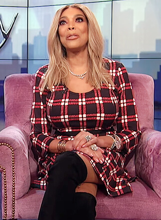Wendy's black check dress on The Wendy Williams Show