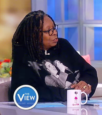 Whoopi's black oversized elvis dress on The View