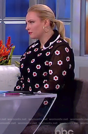 Meghan's black floral embellished top on The View