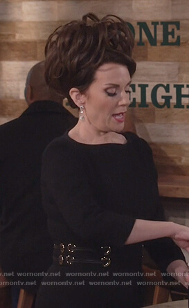 Karen's black grommet waist dress on Will and Grace
