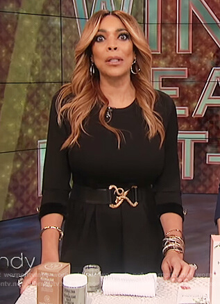 Wendy's black embellished cuff dress on The Wendy Williams Show