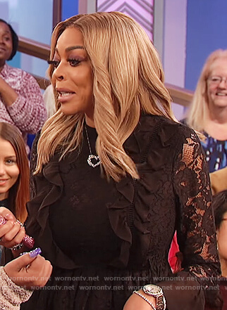 Wendy's black lace ruffle front top on The Wendy Williams Show