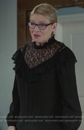Joan's black lace inset long sleeve top on Life in Pieces