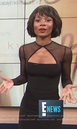 Zuri's black long sleeve mesh dress on E! News