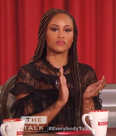 Eve's black lace jumpsuit on The Talk