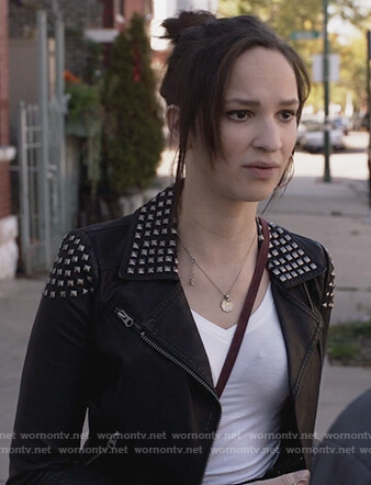 Sierra's black studded moto jacket on Shameless