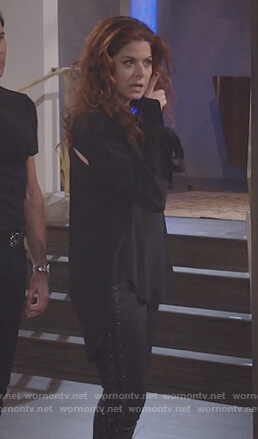 Grace's black tie cuff blouse on Will and Grace