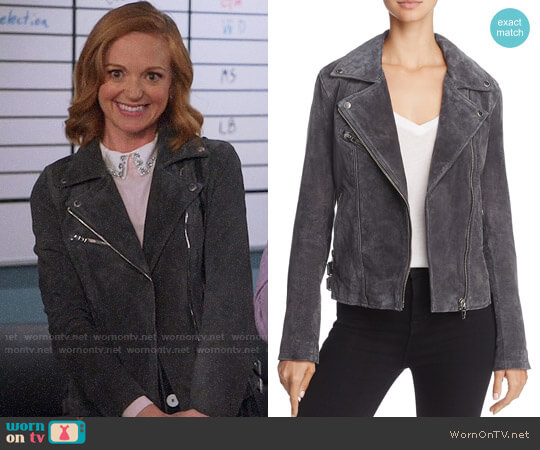 BlankNYC Suede Moto Jacket worn by Jayma Mays on Great News