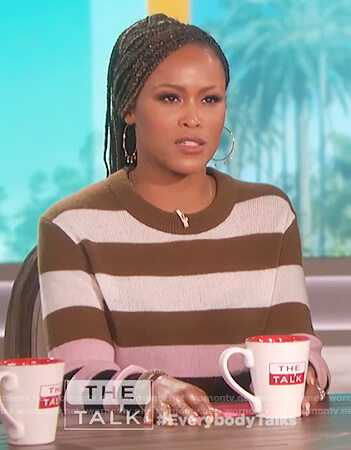 Eve's block stripe sweater on The Talk