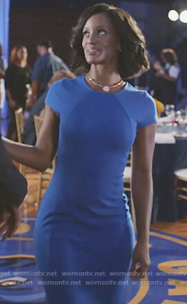 Kara's blue cap sleeve pencil dress on Black Lightning